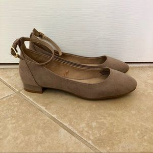 NWOT Old Navy Taupe Flats With Ankle Strap